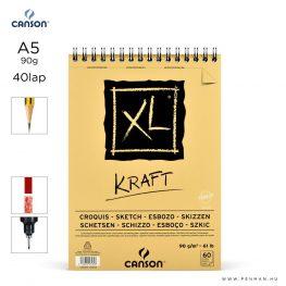canson xl kraft papir a5 40lap 90g rs finom