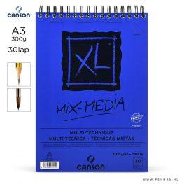 canson xl mix media papir a3 30lap 300g rs finom